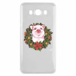 Чохол для Samsung J7 2016 Pig with a Christmas wreath