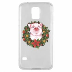 Чохол для Samsung S5 Pig with a Christmas wreath