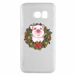 Чохол для Samsung S6 EDGE Pig with a Christmas wreath