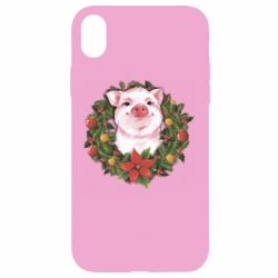 Чохол для iPhone XR Pig with a Christmas wreath
