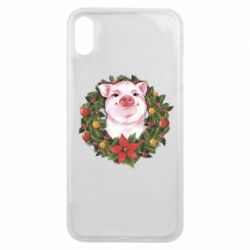 Чохол для iPhone Xs Max Pig with a Christmas wreath