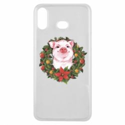 Чохол для Samsung A6s Pig with a Christmas wreath
