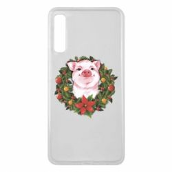 Чохол для Samsung A7 2018 Pig with a Christmas wreath