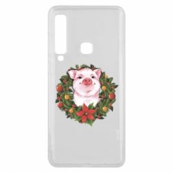 Чохол для Samsung A9 2018 Pig with a Christmas wreath