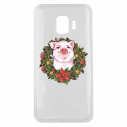 Чохол для Samsung J2 Core Pig with a Christmas wreath