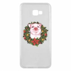 Чохол для Samsung J4 Plus 2018 Pig with a Christmas wreath