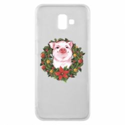 Чохол для Samsung J6 Plus 2018 Pig with a Christmas wreath