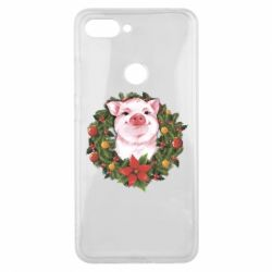 Чохол для Xiaomi Mi8 Lite Pig with a Christmas wreath