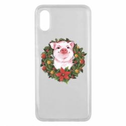 Чохол для Xiaomi Mi8 Pro Pig with a Christmas wreath