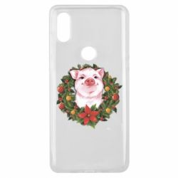 Чохол для Xiaomi Mi Mix 3 Pig with a Christmas wreath