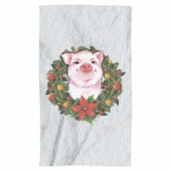 Рушник Pig with a Christmas wreath