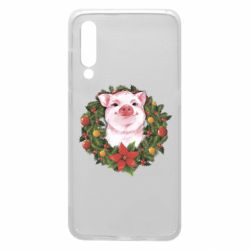 Чохол для Xiaomi Mi9 Pig with a Christmas wreath
