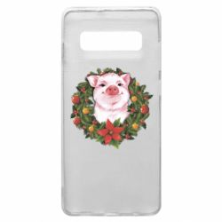 Чохол для Samsung S10+ Pig with a Christmas wreath
