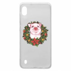 Чохол для Samsung A10 Pig with a Christmas wreath