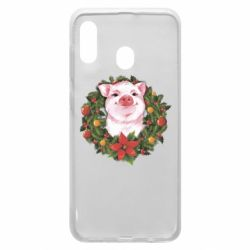 Чохол для Samsung A20 Pig with a Christmas wreath
