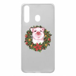 Чохол для Samsung A60 Pig with a Christmas wreath