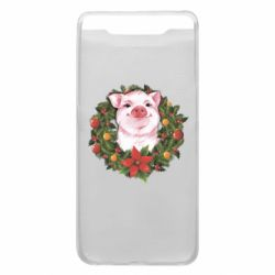 Чохол для Samsung A80 Pig with a Christmas wreath