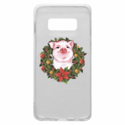 Чохол для Samsung S10e Pig with a Christmas wreath