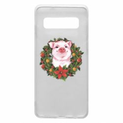 Чохол для Samsung S10 Pig with a Christmas wreath