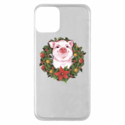 Чохол для iPhone 11 Pig with a Christmas wreath