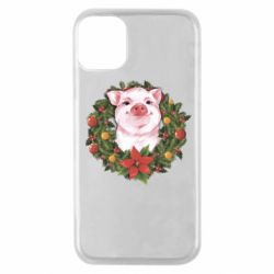 Чохол для iPhone 11 Pro Pig with a Christmas wreath
