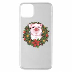 Чохол для iPhone 11 Pro Max Pig with a Christmas wreath