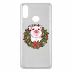 Чохол для Samsung A10s Pig with a Christmas wreath