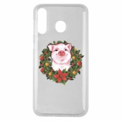 Чохол для Samsung M30 Pig with a Christmas wreath