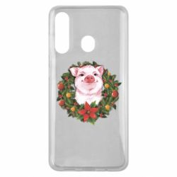 Чохол для Samsung M40 Pig with a Christmas wreath