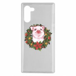 Чохол для Samsung Note 10 Pig with a Christmas wreath