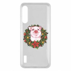 Чохол для Xiaomi Mi A3 Pig with a Christmas wreath