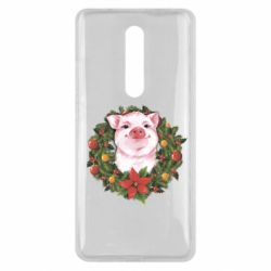 Чохол для Xiaomi Mi9T Pig with a Christmas wreath