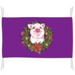 Прапор Pig with a Christmas wreath
