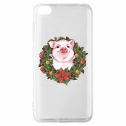 Чохол для Xiaomi Redmi Go Pig with a Christmas wreath