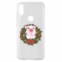 Чохол для Xiaomi Mi Play Pig with a Christmas wreath