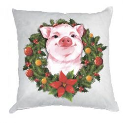 Подушка Pig with a Christmas wreath