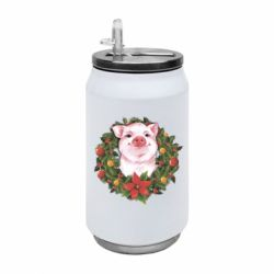 Термобанка 350ml Pig with a Christmas wreath