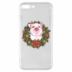 Чохол для iPhone 7 Plus Pig with a Christmas wreath