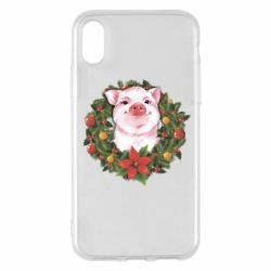Чохол для iPhone X/Xs Pig with a Christmas wreath