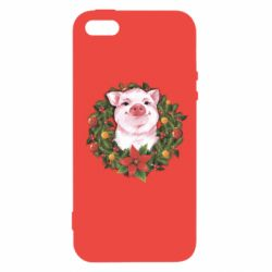 Чохол для iphone 5/5S/SE Pig with a Christmas wreath