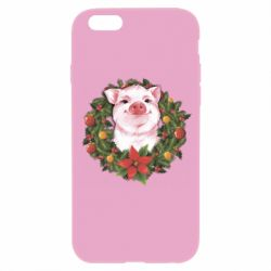 Чохол для iPhone 6/6S Pig with a Christmas wreath