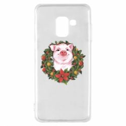 Чохол для Samsung A8 2018 Pig with a Christmas wreath