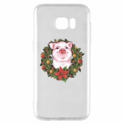 Чохол для Samsung S7 EDGE Pig with a Christmas wreath