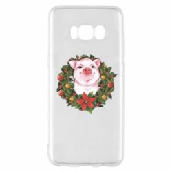 Чохол для Samsung S8 Pig with a Christmas wreath
