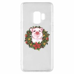 Чохол для Samsung S9 Pig with a Christmas wreath