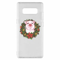 Чохол для Samsung Note 8 Pig with a Christmas wreath