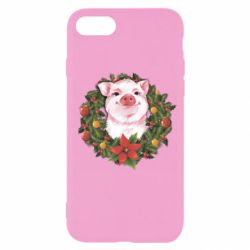 Чохол для iPhone 8 Pig with a Christmas wreath