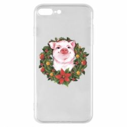 Чохол для iPhone 8 Plus Pig with a Christmas wreath