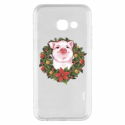 Чохол для Samsung A3 2017 Pig with a Christmas wreath