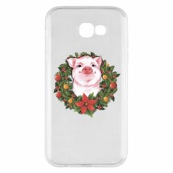 Чохол для Samsung A7 2017 Pig with a Christmas wreath